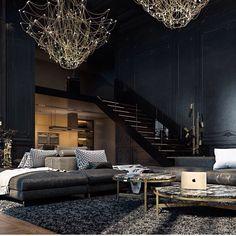 einrichtung-schwarz-gold-wohnzimmer-kronleuchter | carpintería ... - Wohnzimmer Schwarz Gold