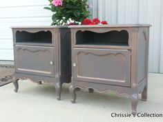 "Pair of Nightstands. Painted in General Finishes Driftwood with an Antique Gold glaze. 25""x16.5"" and 27""t $275 for the pair"