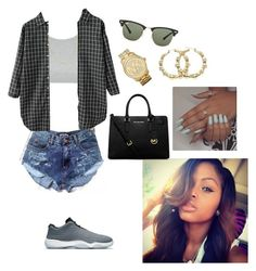 """Chillin"" by tamia0422 ❤ liked on Polyvore featuring Topshop, NIKE, MICHAEL Michael Kors, Ray-Ban, Michael Kors and Fremada"