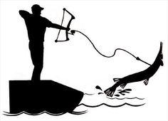 bowfishing sticker vinyl decal bow fishing gar bow reel fish arrow line hook new #UnbrandedGeneric