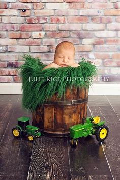 John Deere Newborn Portrait Session. Rainforest Green Fur Nest Photography Prop  Fake grass photo props