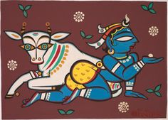View Untitled Krishna with Nandi by Jamini Roy on artnet. Browse upcoming and past auction lots by Jamini Roy. Madhubani Art, Madhubani Painting, Indian Folk Art, Indian Artist, Kalamkari Painting, Fabric Painting, Mural Painting, Om Namah Shivaya, Phad Painting