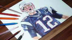 Tom Brady Ballpoint Pen Drawing - Patroits - Freehand Art