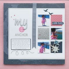 Feminine take on the nautical trend. Images on this scrapbook layout were stamped using the My Acrylix® Sail Away stamp set. #CTMH