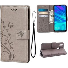 Amazon.com: Wallet Case for Huawei P Smart 2019, 3 Card Holder Embossed Butterfly Flower PU Leather Magnetic Flip Cover for Huawei Honor 10 Lite(Grey): Gateway