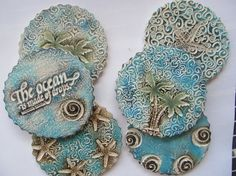 Tropical Beach Decor Coasters: Starfish, Palm Trees, Waves Ceramic (Set of 6)