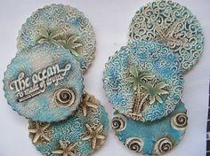 Tropical Beach Decor Coasters: Starfish, Palm Trees, Waves Ceramic (Set of 6)