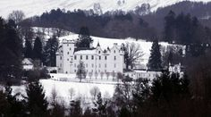Looking towards Blair Castle near Blair Atholl against a snow covered landscape
