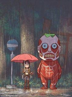 Shingeki no Kyojin x Totoro crossover attack on Titan, SNK Attack On Titan Funny, Attack On Titan Anime, Attack On Titan Comics, Attack On Titan Crossover, Hayao Miyazaki, Anime Quotes Tumblr, Anime Body, Anime Pokemon, Pokemon Cards