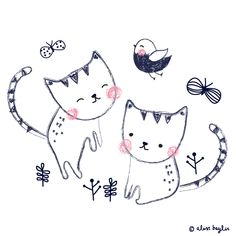 similar to the other look - the two kitties playing in the garden. A simple, clean look.