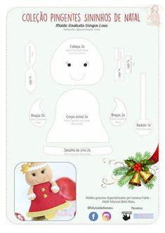 Pingentes natalinos com moldes para imprimir gratis - Como Fazer Felt Christmas Ornaments, Christmas Art, All Things Christmas, Dyi Crafts, Felt Crafts, Christmas Templates, Stuffed Toys Patterns, Xmas Decorations, Projects To Try