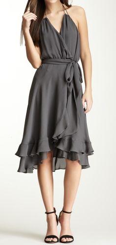 Grey Ruffled Dress