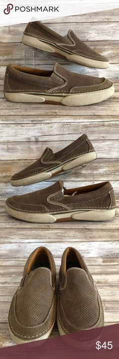 219674f50a1de Sperry Largo Taupe Suede Perforated Casual Loafers Sperry Top-Sider 9.5M  Largo Slip On