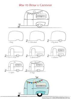 caravan Last drawing activity for the Holidays! Well our holidays anyway. A sweet little caravan to Camping Theme, Camping Crafts, Camping Signs, Doodle Drawings, Easy Drawings, Art Projects, Sewing Projects, Quilting Projects, Drawing Activities