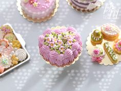 Heart-Shaped Pink Cream Cake Decorated with Tiny Flowers - Miniature Food in 12th Scale for Dollhouse