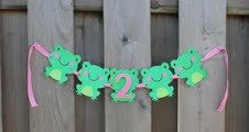 Girl's frog high chair banner/happy birthday by averybeansboutique, $16.00