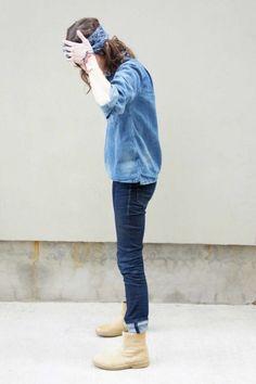 Denim on denim + turban + ankle boots.