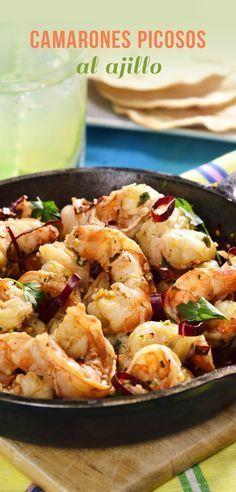 Camarones Picosos al Ajillo Seafood Dishes, Seafood Recipes, Cooking Recipes, Healthy Recipes, Real Mexican Food, Mexican Food Recipes, Ethnic Recipes, Alice Delice, Deli Food