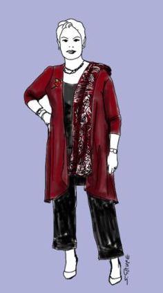 So sieht ein optimales Outfit für den O-Figurtyp aus: Lange, vertikale Linien in der Körpermitte und Akzente an Dekolleté, Fesseln und Handgelenken. Mehr Tipps für den O-Typ gibt es auf www.modefluesterin.de