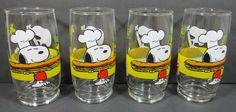 Set of 4 Glasses Snoopy & Woodstock Peanuts Eating Spaghetti & Sandwich