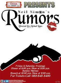 Neil Simon's Rumors Poster Designed by: Wayne Rieve (WarGraffix)