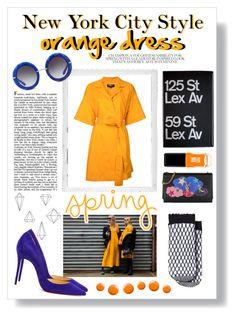 """orange dress"" by the-amj ❤ liked on Polyvore featuring Polaroid, Paule Ka, ASOS, Umbra, Christian Louboutin, Yves Saint Laurent, Dolce&Gabbana, Topshop and JINsoon"