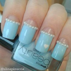 Sky blue nails with pearls and white heart. Get Nails, Prom Nails, How To Do Nails, Fabulous Nails, Gorgeous Nails, Pretty Nails, Funky Nails, Blue Nails, French Tip Nails