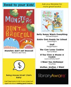 """What better way to engage parents than to help them introduce financial literacy to their kids with great reading recommendations? We've added a series of ready-to-go templates in LibraryAware for you to get started. Search """"financial"""" under bookmarks-3-page to find this bookmark."""