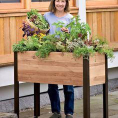 For gardeners who have a little trouble bending over or kneeling, this tall raised garden bed is perfect! Available at Gardener\'s Supply Company