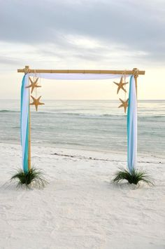 Light Blue Beach Destination Wedding Arch Ideas with star fish Beach Wedding Arbors, Beach Ceremony, Beach Wedding Decorations, Beach Weddings, Wedding Arches, Ceremony Arch, Themed Weddings, Destination Weddings, Bamboo Wedding Arch