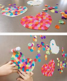 Corazones / Hearts / Herzen We have discovered giant confetti! Today we have used it to design heart Kinder Valentines, Valentine Crafts For Kids, Valentines Day Activities, Saint Valentine, Valentines Day Party, Holiday Crafts, Preschool Crafts, Kids Crafts, Easy Crafts