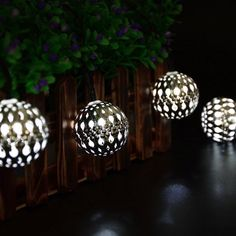 Tanbaby Solar Globe String Lights 10 Led Moroccan Ball Fairy LED Lights Striping for Night Lighting, Indoor Decorations, Holiday Celebration, Party, Christmas Tree (Cool White) Globe String Lights, Christmas String Lights, String Lights Outdoor, Holiday Lights, Metal Lanterns, Lantern Lighting, Patio Wedding, Christmas Fairy, Christmas Wedding