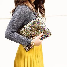 Had to share that my faborite gold pleated skirt + sequin clutch are back in stock. Get all direct products links here: http://liketk.it/2qaVZ @liketoknow.it #liketkit #ltkunder