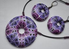 How-to tutorial - Making purple and white kaleidoscope cane polymer clay jewelry