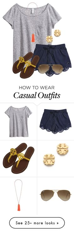 Casual by flroasburn on Polyvore featuring HM, Tory Burch, Ray-Ban and Topshop