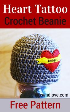 Heart Tattoo Beanie | Free Pattern - chaosandlove.com #crochet #diy #freepattern