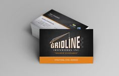 Hotspot Creative Solutions | Gridline Ironworks business card. We used strong colors and graphics to play off the strong lines in this structural steel company's logo.