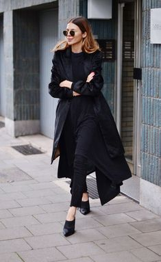 woman going to work in black suit