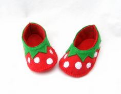 Strawberry baby booties by TheCraftyButtonUK on Etsy, £10.00