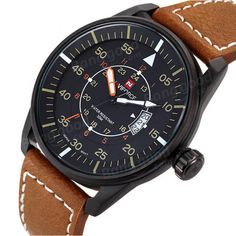Naviforce 9044 Military Style Date PU Leather Quartz Men Wrist Watch - Banggood Mobile