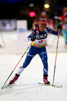 Gabriela Koukalova of Czech Republic skates during the JOKA Biathlon World Team Challenge 2016 at Veltins-Arena on December 28, 2016 in Gelsenkirchen, Germany.