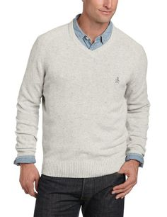 Original Penguin Men's Long Sleeve Donegal Saddle R V-Neck Sweater, Light Silver Heather, X-Large