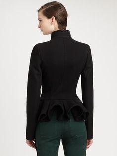 Gray Wool cashmere Peplum Jacket  A sculptural, artfully tailored peplum lends architectural drama to this wool/cashmere design.