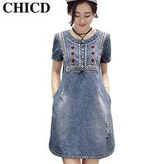 CHICD Summer Women Sundress Retro Vintage Embroidery Soft Jeans Denim Dress O-Neck Mini Casual Plus Size Vestidos Femininos XD56