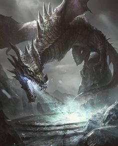 Chaos' Dragon of the Hunt Mythical Creatures Art, Mythological Creatures, Magical Creatures, Dark Fantasy Art, Fantasy Artwork, Dragon Artwork, Dragon Drawings, Cool Dragons, Dragon Pictures
