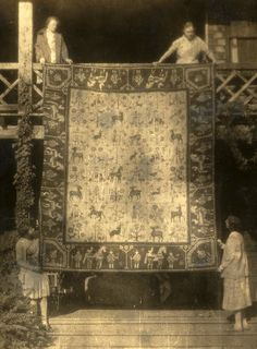 Article about Mrs. Annie Chiasson who hand hooked this rug out of 200 pounds of wool, which she dyed on a wood burning stove.