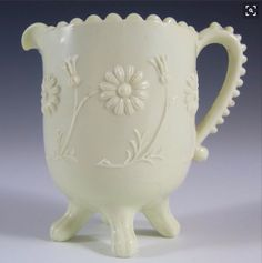 Sowerby Glass, Queen's Ware Ivory Milk Glass Pitcher