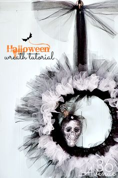 Halloween DIY Wreath Tutorial at the36thavenue.com Look how chic Miss Lady Skull looks... So spooky and glam!