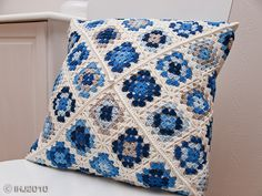 rotated granny squares pillow