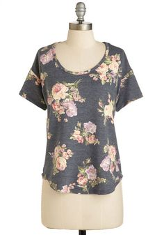 Bliss Just In Top - Mid-length, Knit, Grey, Pink, Floral, Casual, Short Sleeves, Scoop